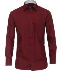casamoda heren overhemd bordeaux poplin non iron kent comfort fit