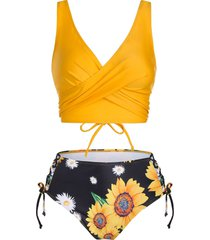 floral print lace up plunging neck tankini swimwear