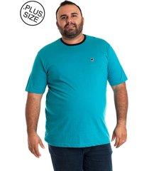 camiseta básica konciny manga curta plus size azul