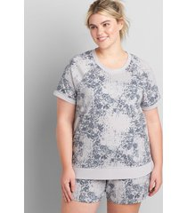 lane bryant women's livi french terry short-sleeve sweatshirt - printed 14/16 grisaille