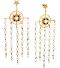 steve madden gold-tone pave & imitation pearl chandelier earrings
