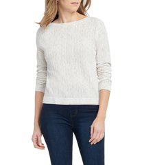 women's nic+zoe mottled stripe pullover, size x-large - ivory