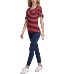 tommy hilfiger striped tie-sleeve cotton top