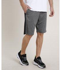 bermuda masculina esportiva ace com bolsos cinza mescla