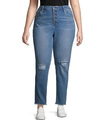 plus high-rise skinny distressed jeans