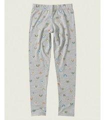 calça legging estampada em cotton malwee cinza - 1