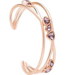 bracciale bangle in metallo rosato e pietre con cuori per donna
