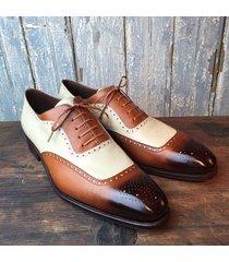 handmade men two tone wingtip brogue formal shoes, men lace up dress shoes
