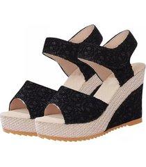 diseño encantador zapatos de mujer verano punta abierta pescado tacones altos sandalias de cuña