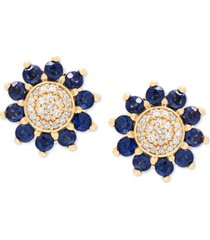 sapphire (7/8 ct. t.w.) & diamond (1/10 ct. t.w.) floral stud earrings in 14k gold