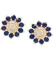 sapphire (7/8 ct. t.w.) & diamond (1/10 ct. t.w.) floral stud earrings in 14k gold