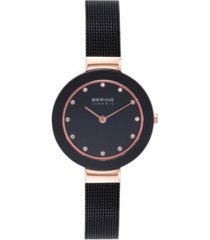 bering women's ceramic crystal black stainless steel mesh bracelet watch 29mm
