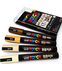 posca colour tones - pc-5m art marker - set of 4 - in plastic wallet - skin tone