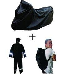 combo impermeable + pijama moto + forro maleta impermeablessdc - negro