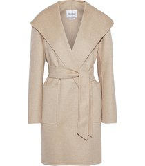 belted cashmere-felt hooded coat