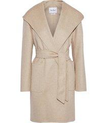 belted cashmere-felt hooded coat