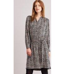 zijden zebraprint jurk met riem