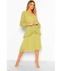 dobby chiffon midi jurk met franjeszoom, olive