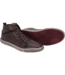 sapatenis cano alto couro tchwm shoes masculino moderno cafã© - cafã© - masculino - dafiti