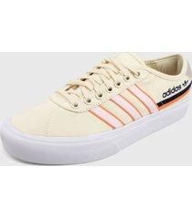 tenis lifestyle blanco hueso-naranja-azul adidas originals delpala