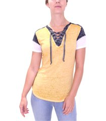 crave fame juniors' lace-up burn-out top