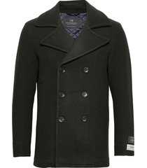 classic wool-blend peacoat with quilted lining ulljacka jacka grå scotch & soda