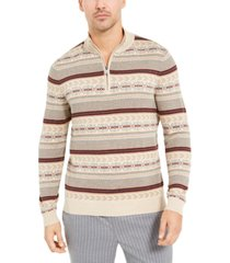 tasso elba men's striped quarter-zip sweater, created for macy's