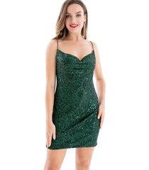 vestido lentejuelas escote drapeado verde nicopoly