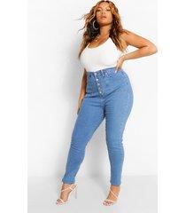 plus versleten skinny jeans met knopen en hoge taille, donkerblauw