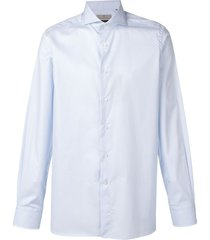 canali striped pointed collar shirt - blue