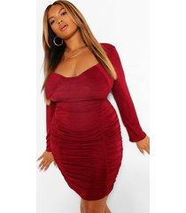 plus getextuurde strakke geplooide bodycon jurk, wijn