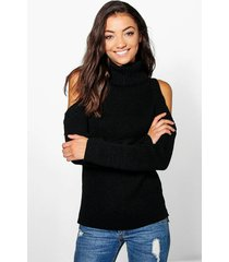 tall high neck cold shoulder sweater, black