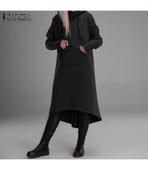 zanzea mujeres de manga larga de gran tamaño casual con cremallera larga pocket hoodie cardigans sweater -negro
