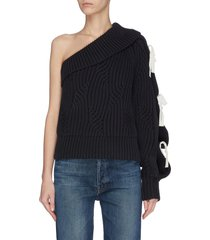 one shoulder ribbon embellished rib knit sweater