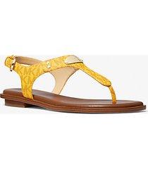 mk sandalo con placca e logo - sole (giallo) - michael kors