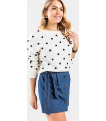 lorie button front mini skirt - chambray