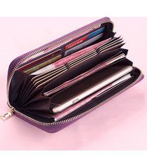 donna clutch pochette portafoglio lungo in pelle vera con 20 card slots multi-funzionale