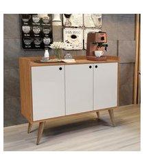 aparador buffet retrô 3 portas wood - nature / off white - rpm móveis