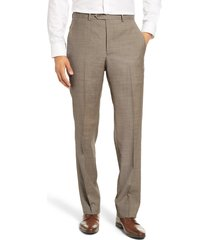 men's big & tall santorelli flat front sharkskin stretch wool dress pants, size 44 - beige