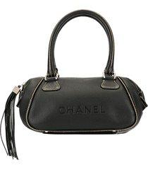 chanel pre-owned hanging tassel logo tote - black