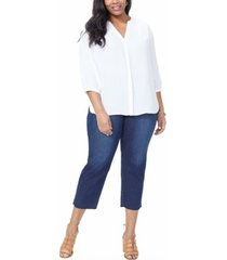 plus size georgette 3/4 sleeve pintuck blouse