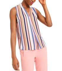 bar iii striped sleeveless v-neck blouse, created for macy's