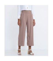 calça clochard lisa com cós largo em camadas   cortelle   cinza   38