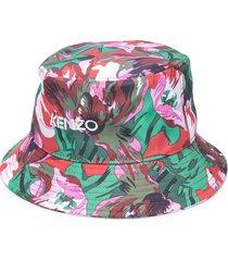 kenzo floral print logo bucket hat - green