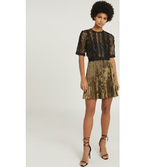reiss athena - lace detailed mini dress in black/gold, womens, size 14