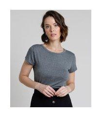blusa feminina básica com botões manga curta decote redondo cinza mescla escuro