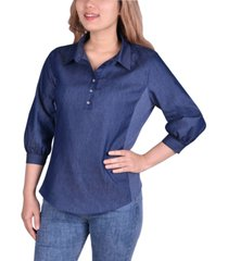 ny collection petite chambray knit-panel popover shirt
