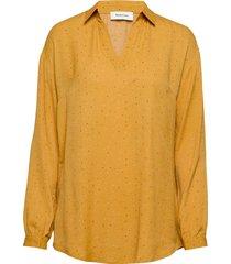 anastacia print shirt blus långärmad gul modström