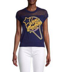 love moschino women's mesh embroidered logo t-shirt - electric blue - size 40 (6)