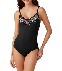 mixed floral-print lace-up one-piece swimsuit